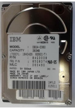HDD 2,5 IDE 360Mb IBM DBOA-2360