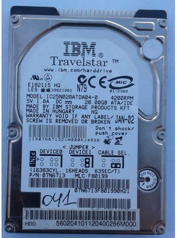 HDD 2,5 IDE 20GB IBM IC25N020ATDA04-0
